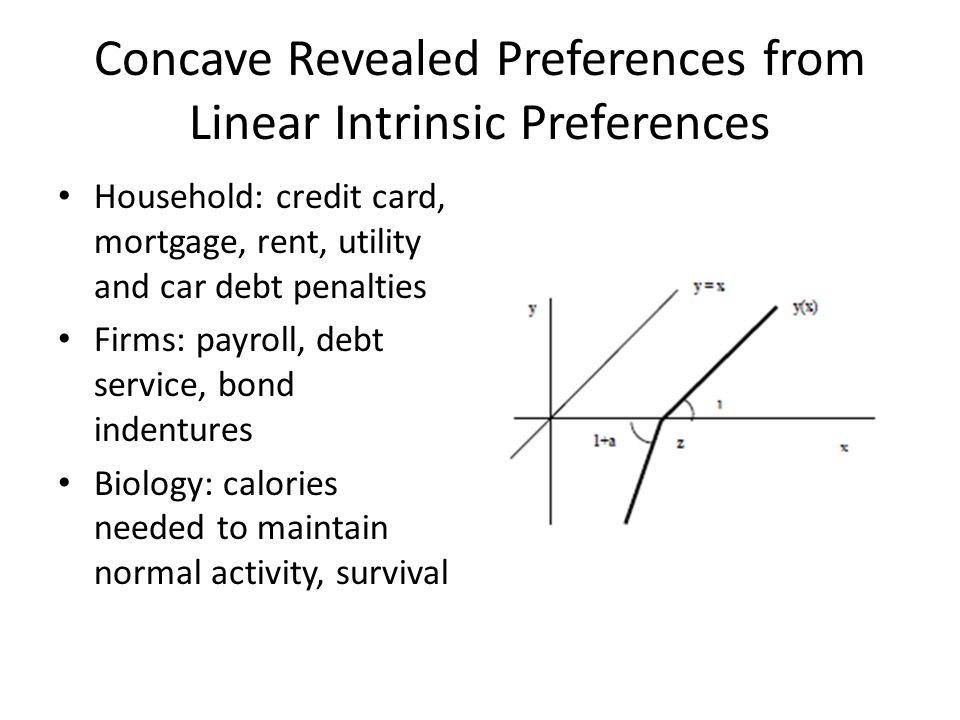 Concave Revealed Preferences from Linear Intrinsic Preferences Household: credit card, mortgage, rent, utility and car debt penalties Firms: payroll,
