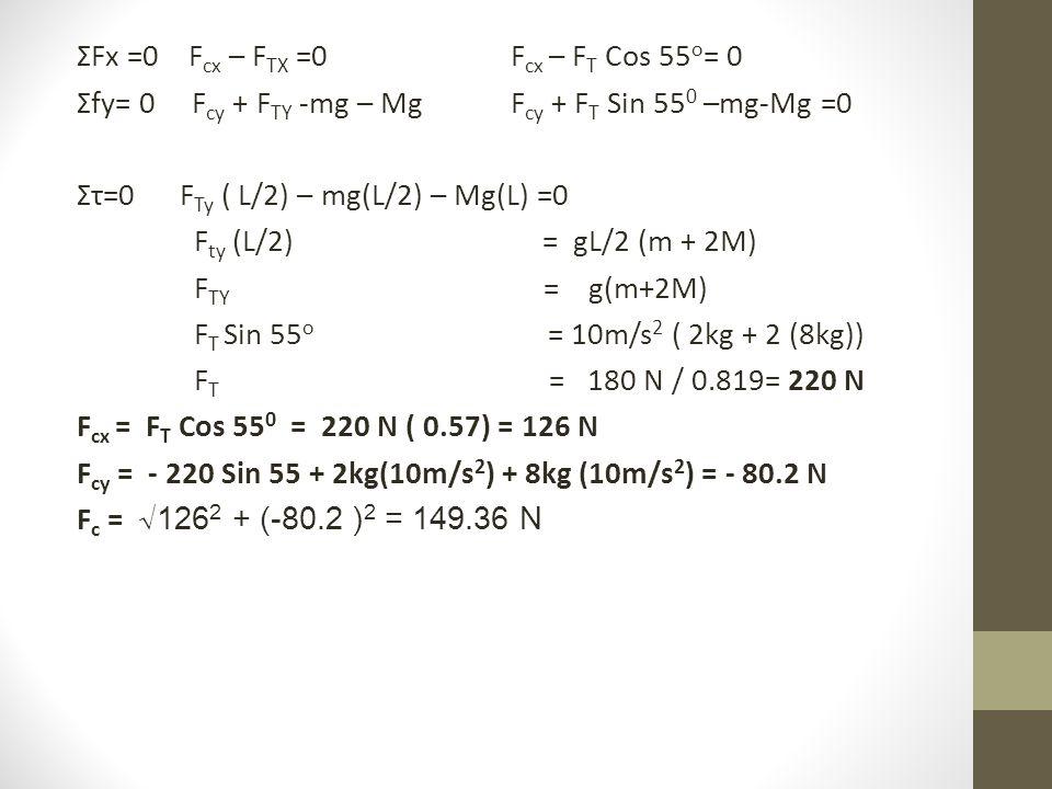 ΣFx =0 F cx – F TX =0 F cx – F T Cos 55 o = 0 Σfy= 0 F cy + F TY -mg – Mg F cy + F T Sin 55 0 –mg-Mg =0 Στ=0 F Ty ( L/2) – mg(L/2) – Mg(L) =0 F ty (L/2) = gL/2 (m + 2M) F TY = g(m+2M) F T Sin 55 o = 10m/s 2 ( 2kg + 2 (8kg)) F T = 180 N / 0.819= 220 N F cx = F T Cos 55 0 = 220 N ( 0.57) = 126 N F cy = - 220 Sin 55 + 2kg(10m/s 2 ) + 8kg (10m/s 2 ) = - 80.2 N F c = √126 2 + (-80.2 ) 2 = 149.36 N