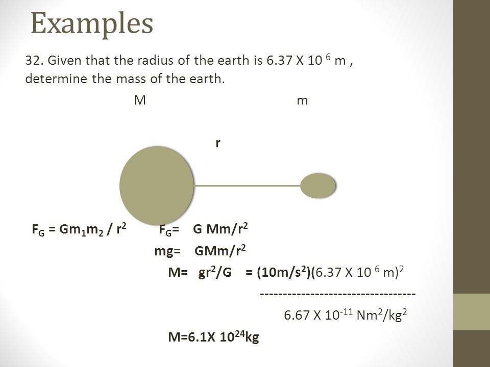 Examples 32.Given that the radius of the earth is 6.37 X 10 6 m, determine the mass of the earth.