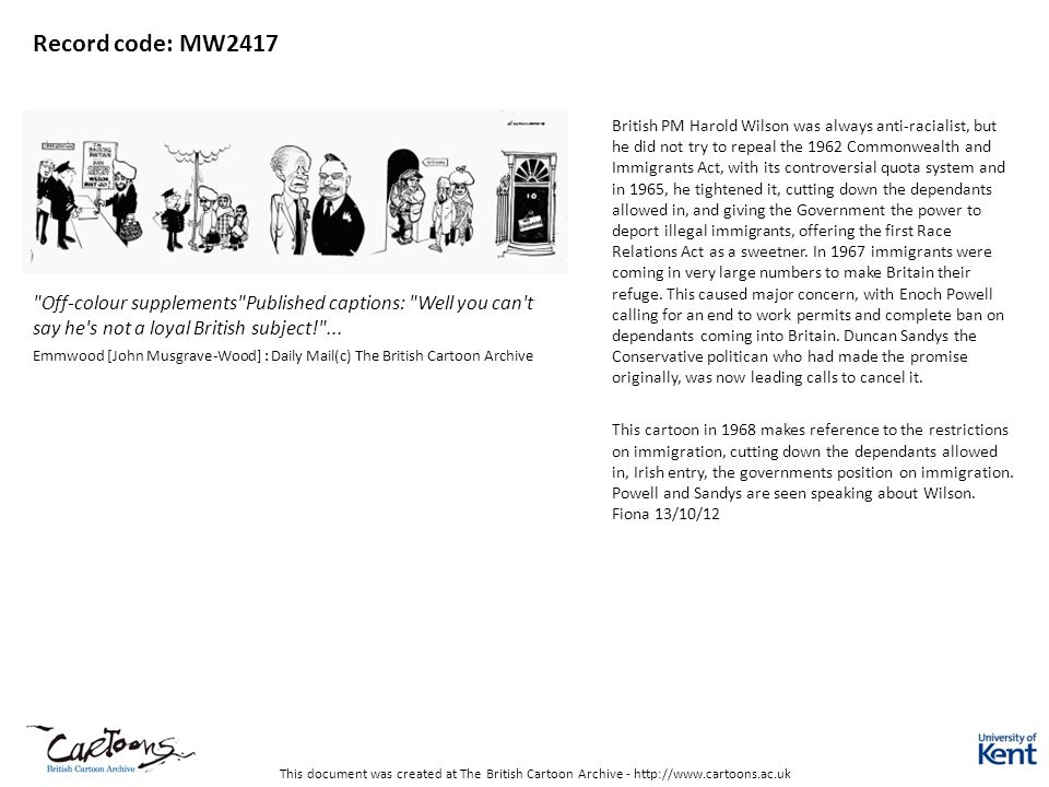This document was created at The British Cartoon Archive - http://www.cartoons.ac.uk Record code: MW2417