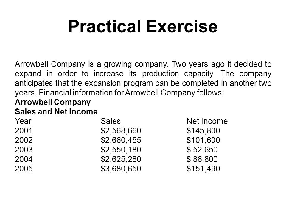 Practical Exercise Arrowbell Company is a growing company. Two years ago it decided to expand in order to increase its production capacity. The compan