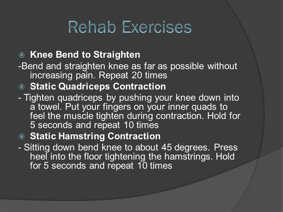 66-12 months SShould begin from the time of injury, not from the time of surgery. 33 stages - controlling pain and swelling in the knee -r-recov