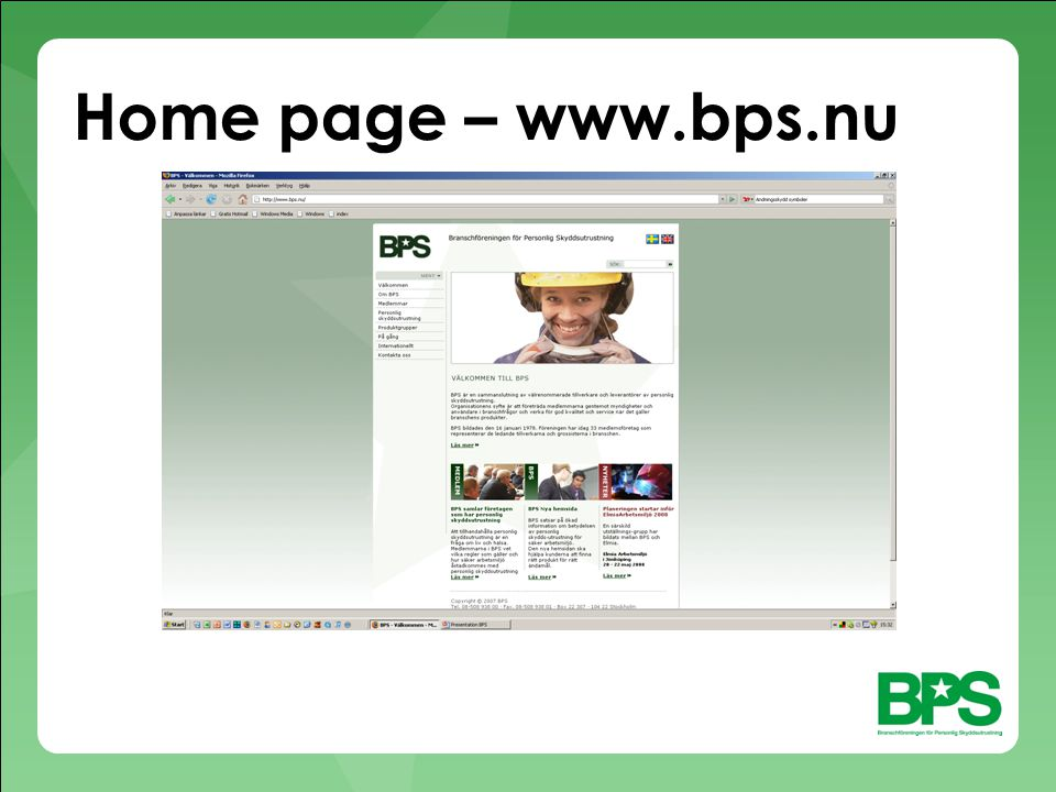 Home page – www.bps.nu