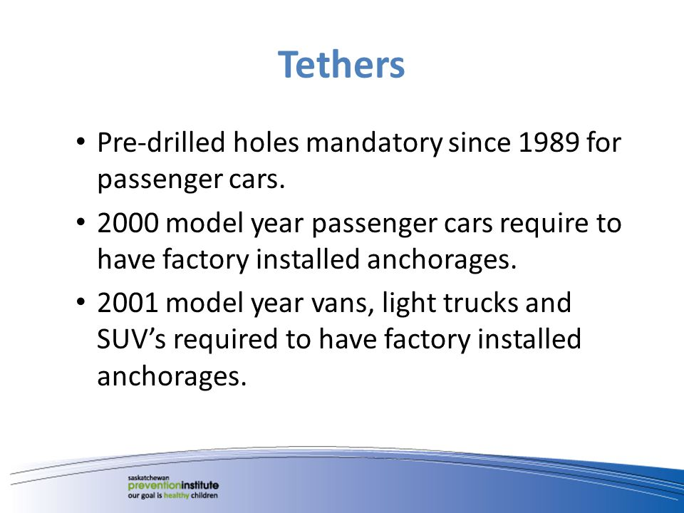 Tethers Pre-drilled holes mandatory since 1989 for passenger cars.