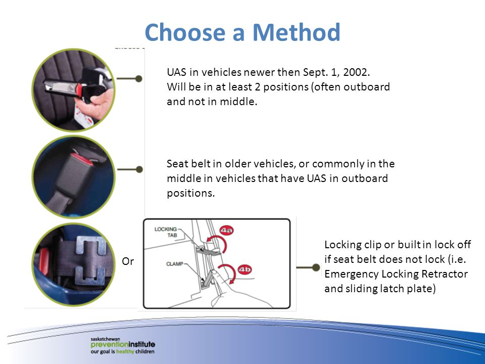 Choose a Method UAS in vehicles newer then Sept. 1, 2002. Will be in at least 2 positions (often outboard and not in middle. Seat belt in older vehicl