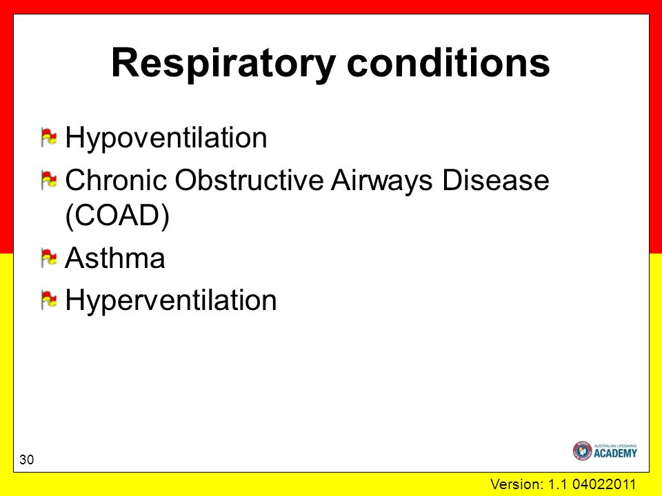 Version: 1.1 04022011 Respiratory conditions Hypoventilation Chronic Obstructive Airways Disease (COAD) Asthma Hyperventilation 30