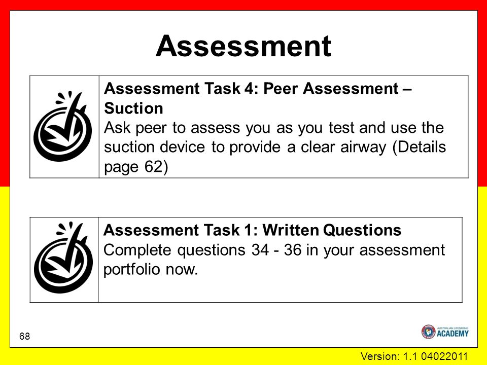 Version: 1.1 04022011 Assessment Assessment Task 1: Written Questions Complete questions 34 - 36 in your assessment portfolio now.