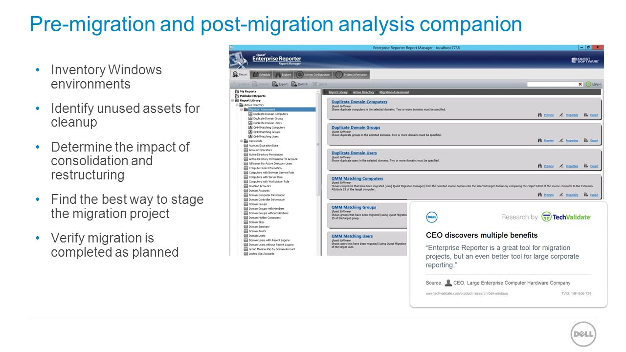 Pre-migration and post-migration analysis companion Inventory Windows environments Identify unused assets for cleanup Determine the impact of consolid