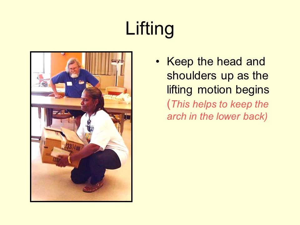 Lifting Keep the head and shoulders up as the lifting motion begins ( This helps to keep the arch in the lower back)