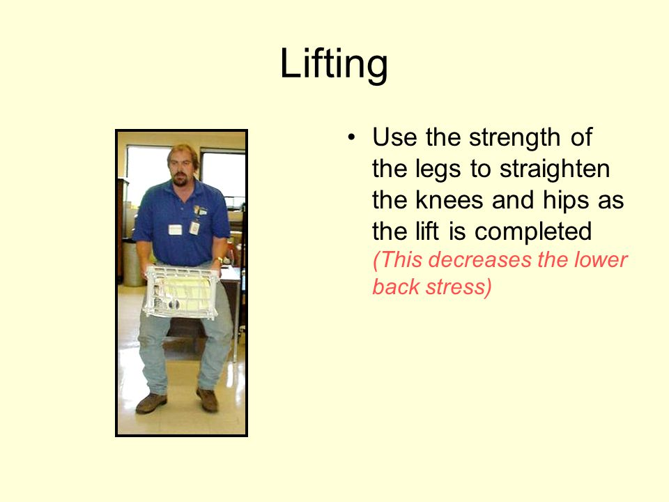 Lifting Use the strength of the legs to straighten the knees and hips as the lift is completed (This decreases the lower back stress)