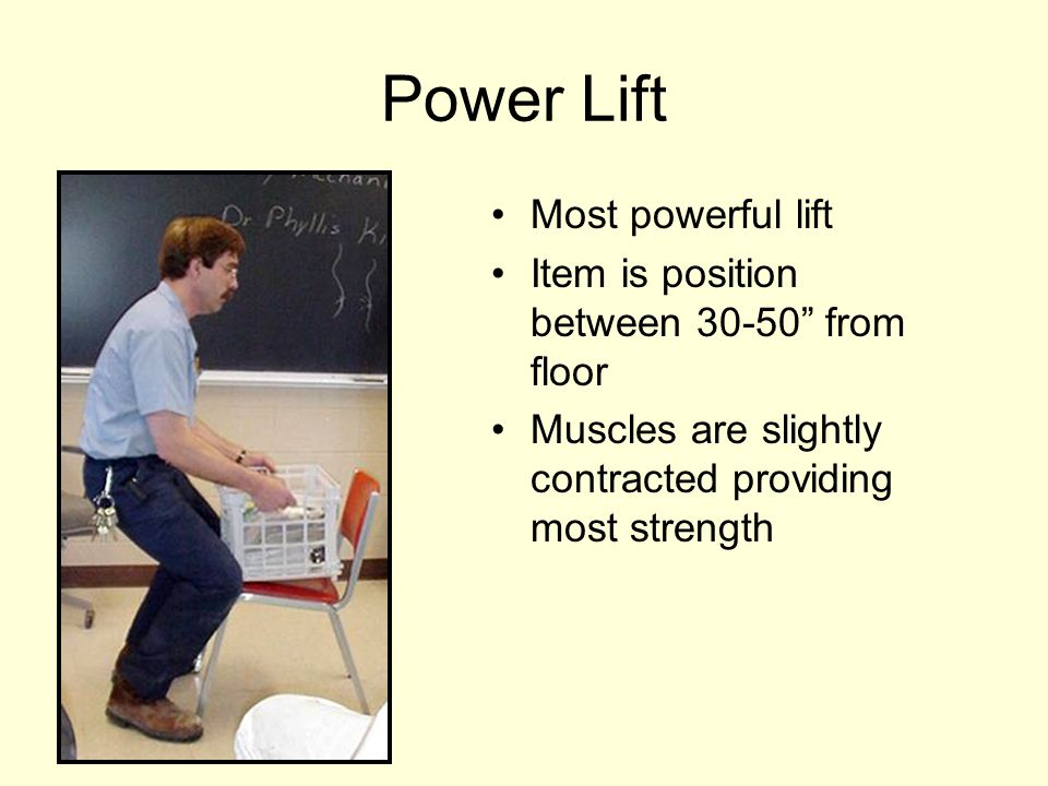 """Power Lift Most powerful lift Item is position between 30-50"""" from floor Muscles are slightly contracted providing most strength"""