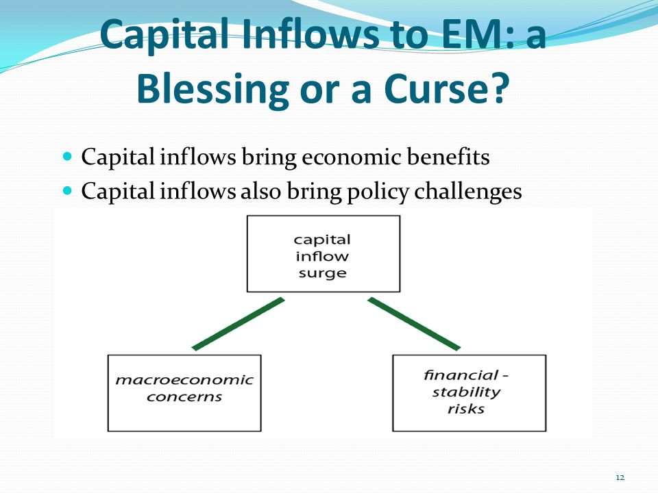 Capital Inflows to EM: a Blessing or a Curse? Capital inflows bring economic benefits Capital inflows also bring policy challenges 12