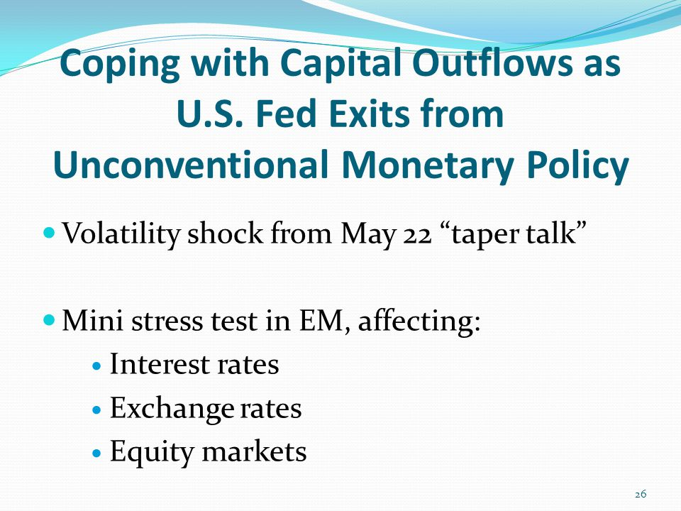 "Coping with Capital Outflows as U.S. Fed Exits from Unconventional Monetary Policy Volatility shock from May 22 ""taper talk"" Mini stress test in EM, a"