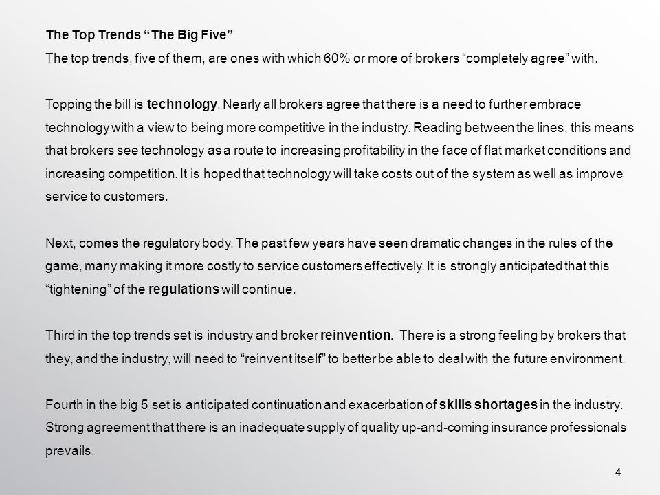 4 The Top Trends The Big Five The top trends, five of them, are ones with which 60% or more of brokers completely agree with.