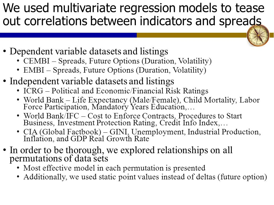 We used multivariate regression models to tease out correlations between indicators and spreads Dependent variable datasets and listings CEMBI – Spreads, Future Options (Duration, Volatility) EMBI – Spreads, Future Options (Duration, Volatility) Independent variable datasets and listings ICRG – Political and Economic/Financial Risk Ratings World Bank – Life Expectancy (Male/Female), Child Mortality, Labor Force Participation, Mandatory Years Education,… World Bank/IFC – Cost to Enforce Contracts, Procedures to Start Business, Investment Protection Rating, Credit Info Index,… CIA (Global Factbook) – GINI, Unemployment, Industrial Production, Inflation, and GDP Real Growth Rate In order to be thorough, we explored relationships on all permutations of data sets Most effective model in each permutation is presented Additionally, we used static point values instead of deltas (future option)