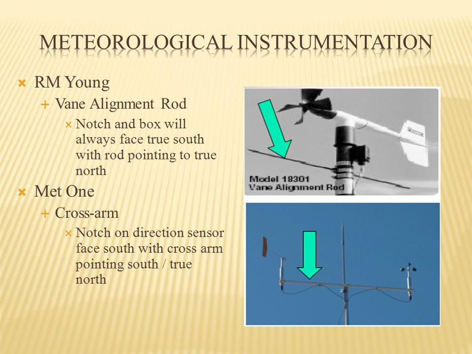  RM Young  Vane Alignment Rod  Notch and box will always face true south with rod pointing to true north  Met One  Cross-arm  Notch on direction sensor face south with cross arm pointing south / true north