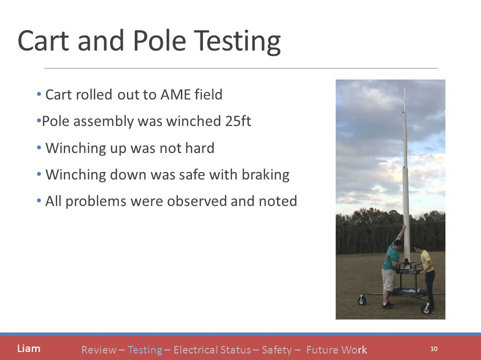 Cart and Pole Testing Cart rolled out to AME field Pole assembly was winched 25ft Winching up was not hard Winching down was safe with braking All problems were observed and noted 10 Liam Review – Testing – Electrical Status – Safety – Future Work