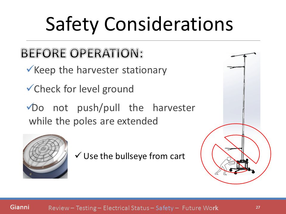 Keep the harvester stationary Check for level ground Do not push/pull the harvester while the poles are extended 27 Safety Considerations Gianni Use the bullseye from cart Review – Testing – Electrical Status – Safety – Future Work