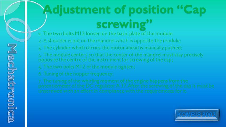 Adjustment of position Cap screwing 1.