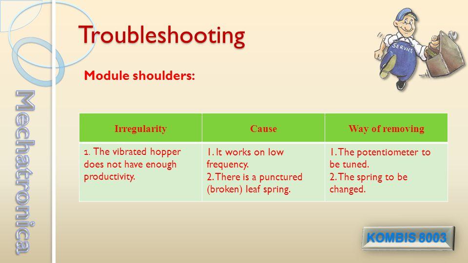 Troubleshooting Module shoulders: IrregularityCauseWay of removing 1.