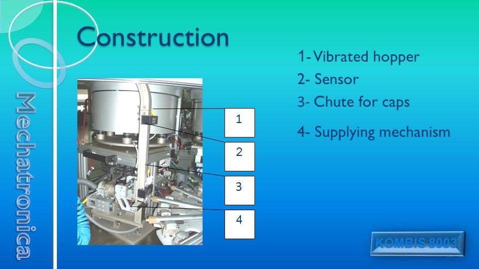 Construction 1 3 2 4 1 - Vibrated hopper 2- Sensor 3- Chute for caps 4- Supplying mechanism