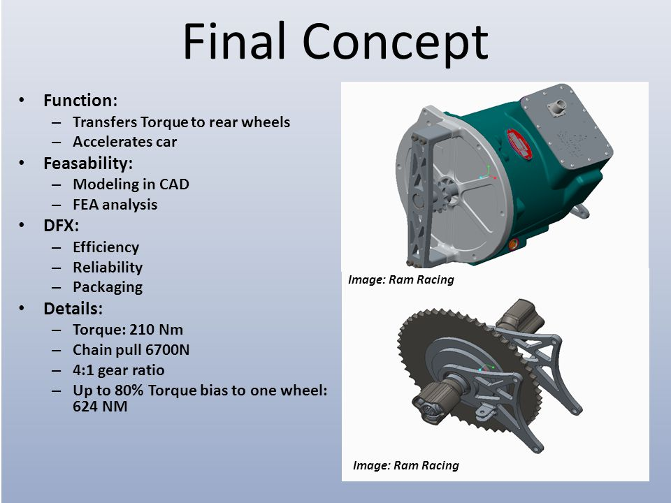Final Concept Function: – Transfers Torque to rear wheels – Accelerates car Feasability: – Modeling in CAD – FEA analysis DFX: – Efficiency – Reliability – Packaging Details: – Torque: 210 Nm – Chain pull 6700N – 4:1 gear ratio – Up to 80% Torque bias to one wheel: 624 NM Image: Ram Racing