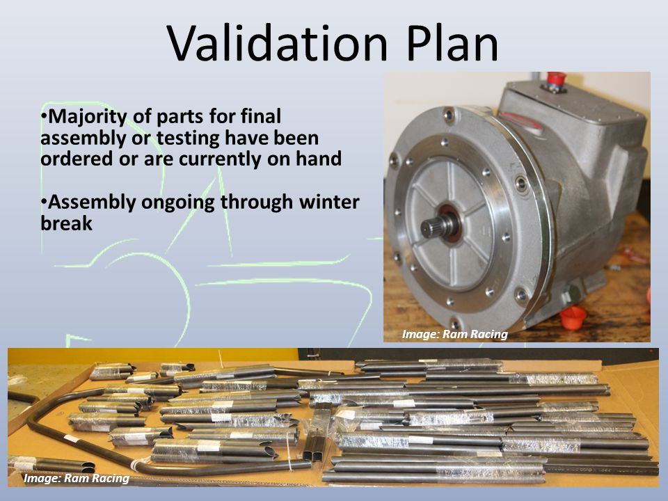 Validation Plan Majority of parts for final assembly or testing have been ordered or are currently on hand Assembly ongoing through winter break Image
