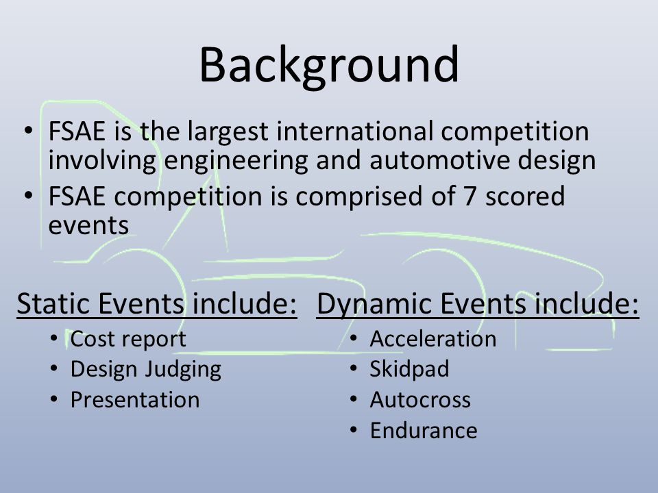 Background FSAE is the largest international competition involving engineering and automotive design FSAE competition is comprised of 7 scored events
