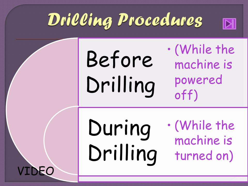 (While the machine is powered off) (While the machine is turned on) Before Drilling During Drilling VIDEO