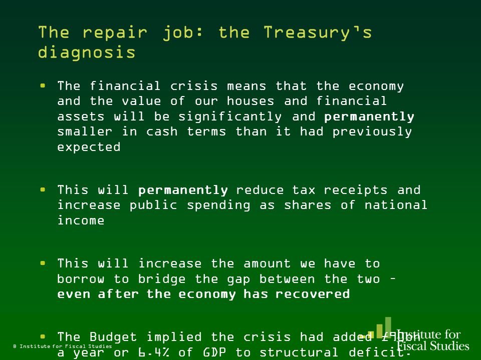 The repair job: the Treasury's diagnosis The financial crisis means that the economy and the value of our houses and financial assets will be significantly and permanently smaller in cash terms than it had previously expected This will permanently reduce tax receipts and increase public spending as shares of national income This will increase the amount we have to borrow to bridge the gap between the two – even after the economy has recovered The Budget implied the crisis had added £90bn a year or 6.4% of GDP to structural deficit.