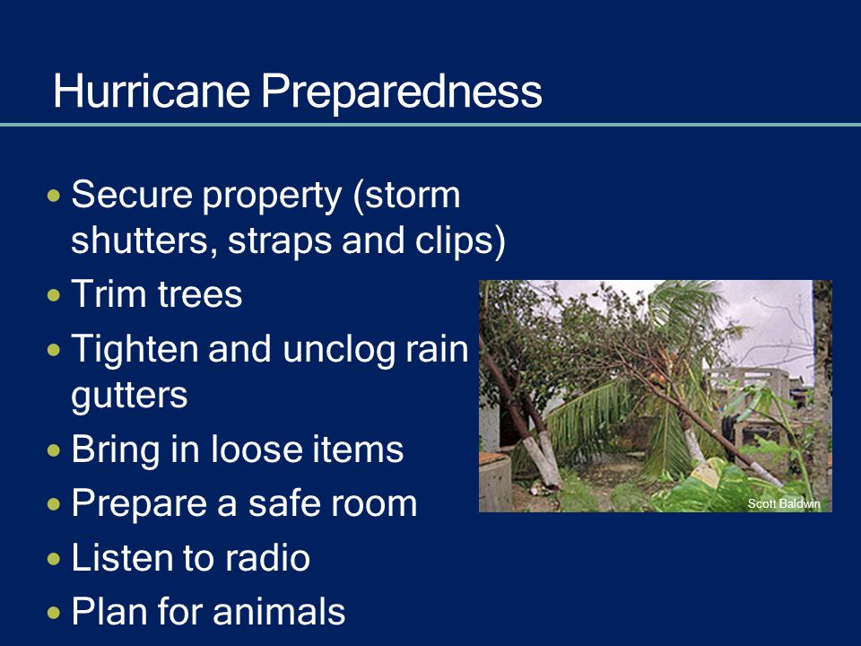 Hurricane Preparedness Secure property (storm shutters, straps and clips) Trim trees Tighten and unclog rain gutters Bring in loose items Prepare a sa