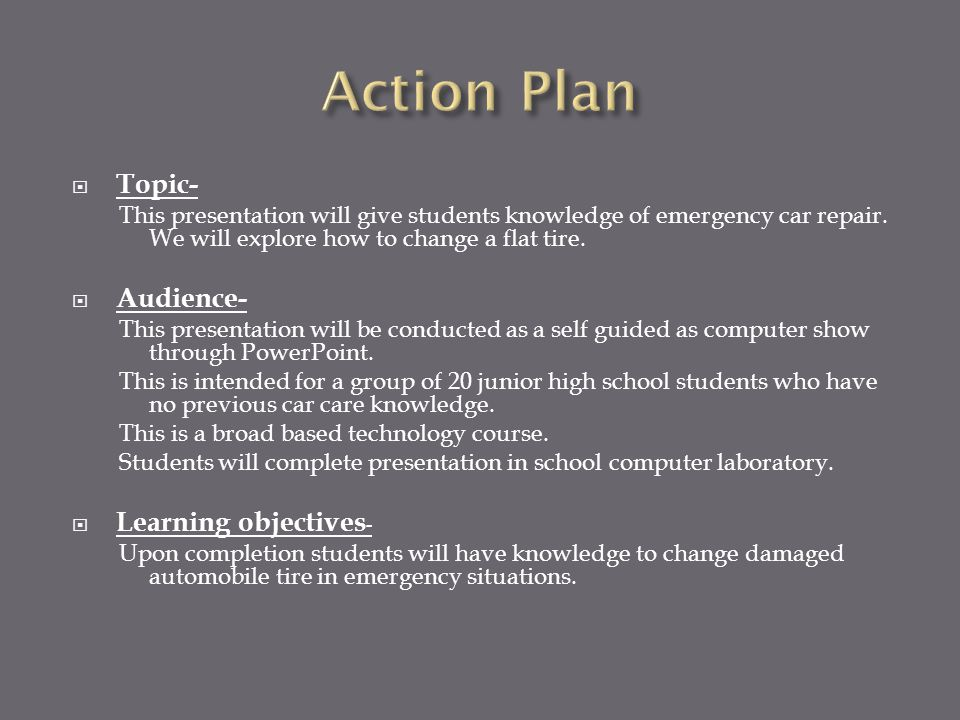  Topic- This presentation will give students knowledge of emergency car repair.