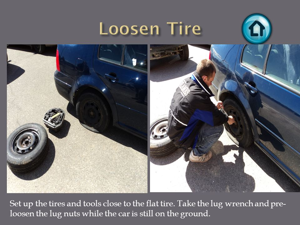 Set up the tires and tools close to the flat tire.
