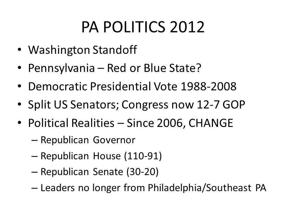PA POLITICS 2012 Washington Standoff Pennsylvania – Red or Blue State.