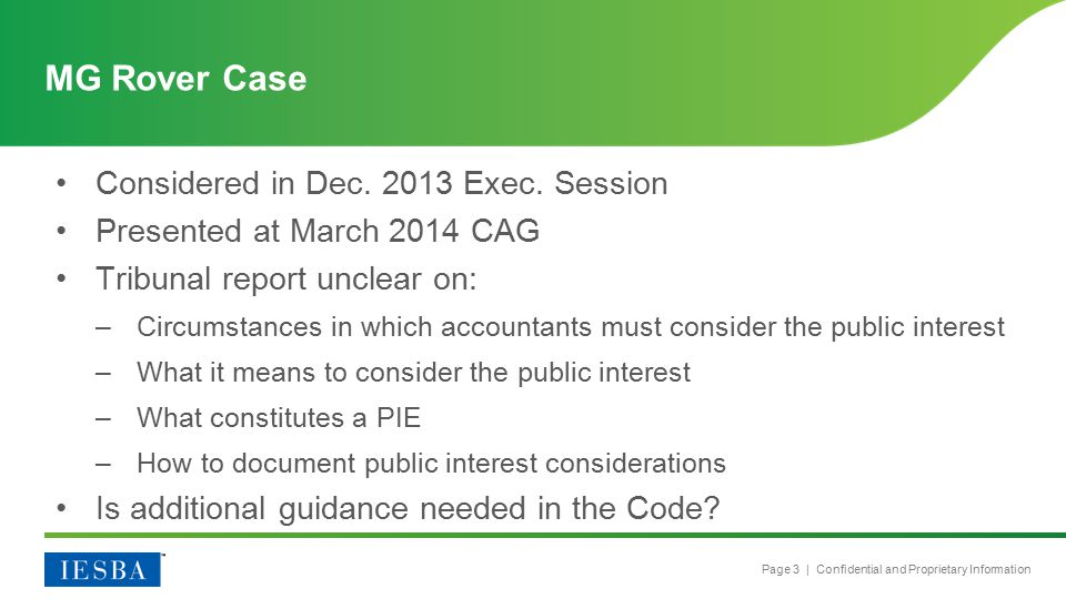 Page 3 | Confidential and Proprietary Information Considered in Dec.