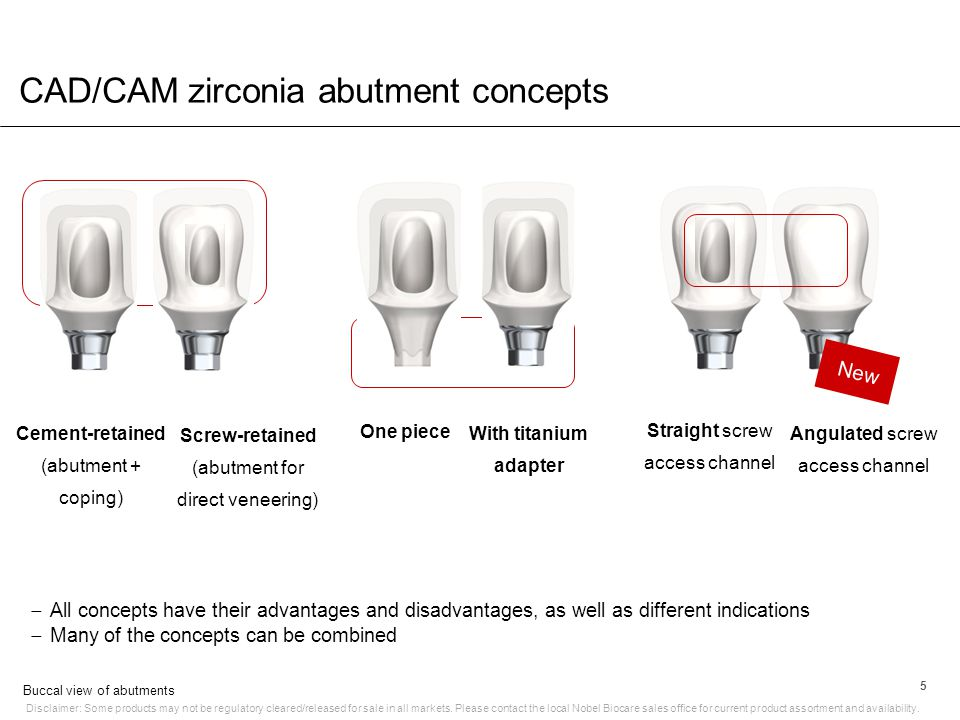 CAD/CAM zirconia abutment concepts Disclaimer: Some products may not be regulatory cleared/released for sale in all markets. Please contact the local