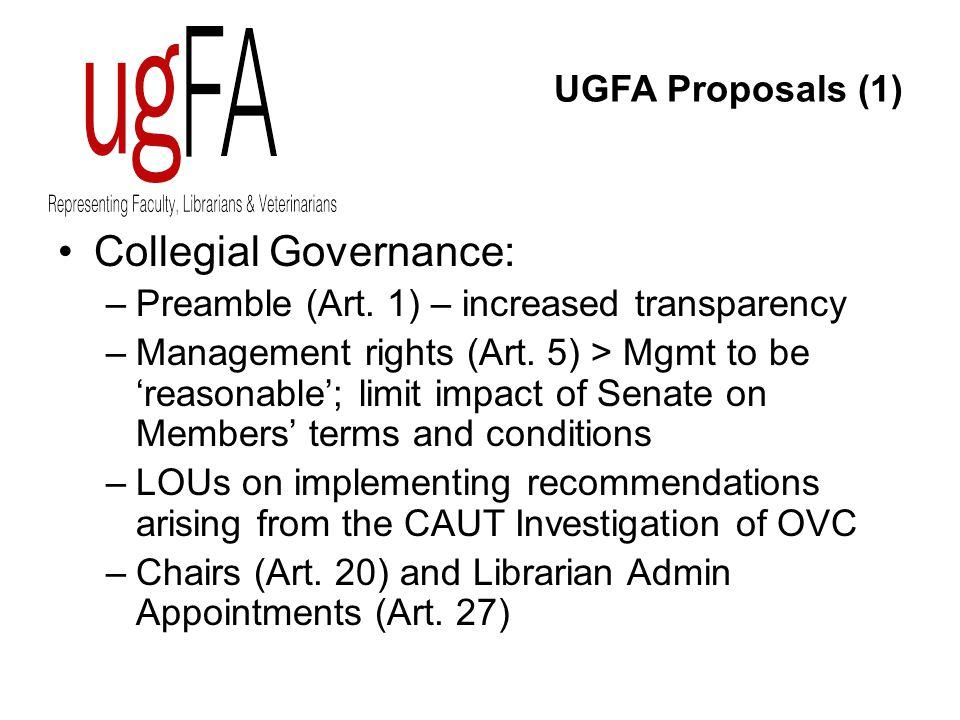 UGFA Proposals (1) Collegial Governance: –Preamble (Art.