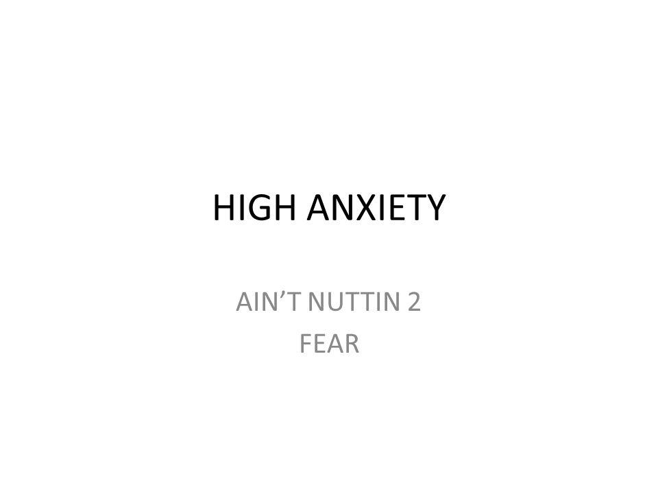 HIGH ANXIETY AIN'T NUTTIN 2 FEAR