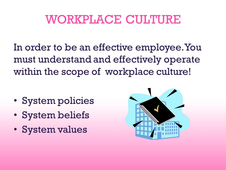 WORKPLACE CULTURE In order to be an effective employee. You must understand and effectively operate within the scope of workplace culture! System poli