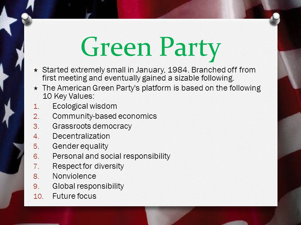 Green Party Started extremely small in January, 1984.