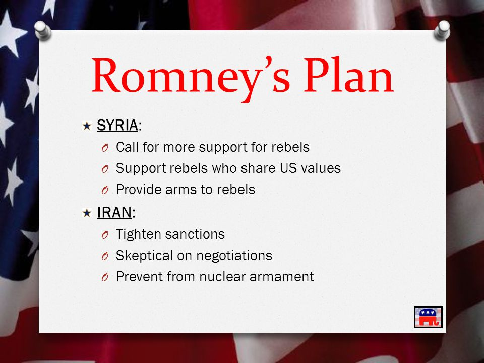 Romney's Plan SYRIA: O Call for more support for rebels O Support rebels who share US values O Provide arms to rebels IRAN: O Tighten sanctions O Skeptical on negotiations O Prevent from nuclear armament