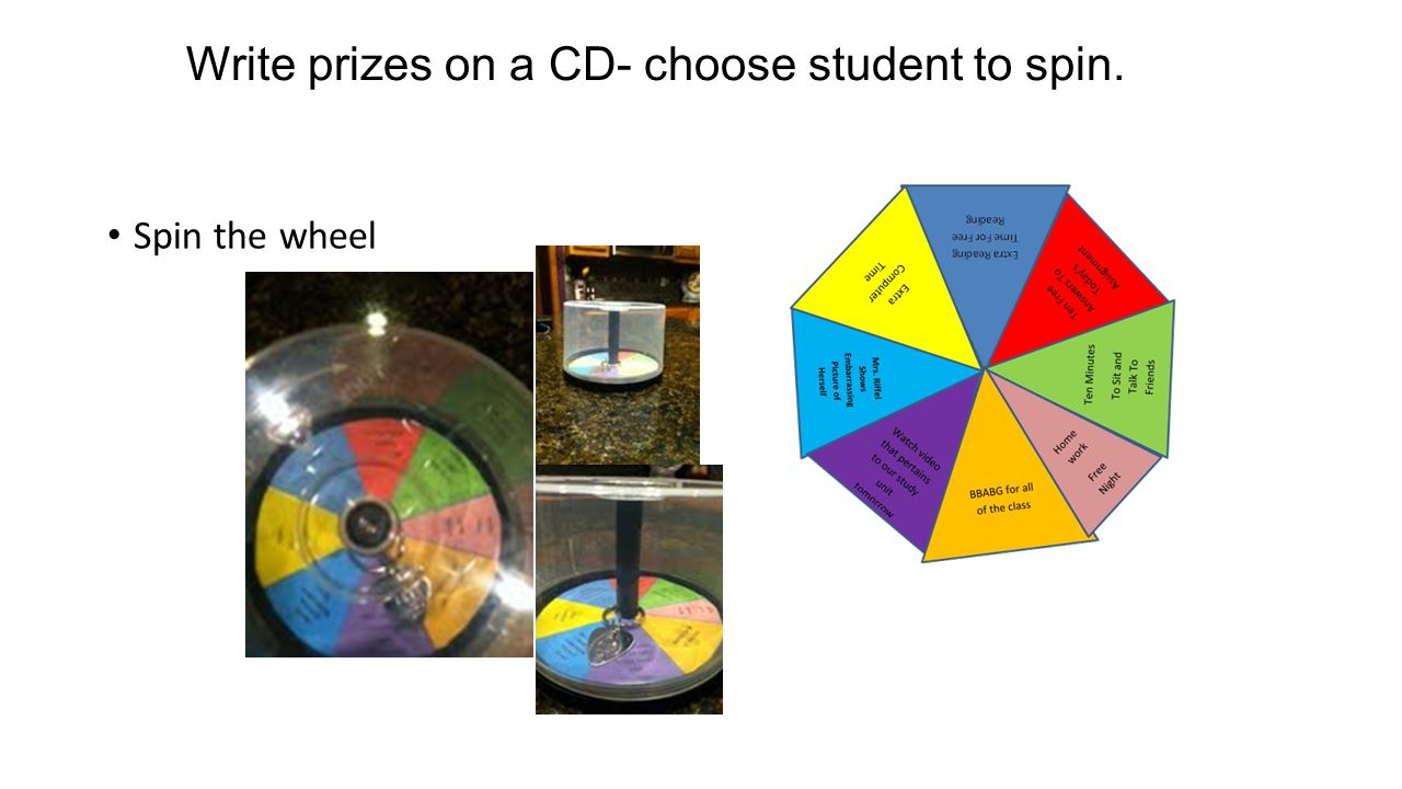 Write prizes on a CD- choose student to spin. Spin the wheel
