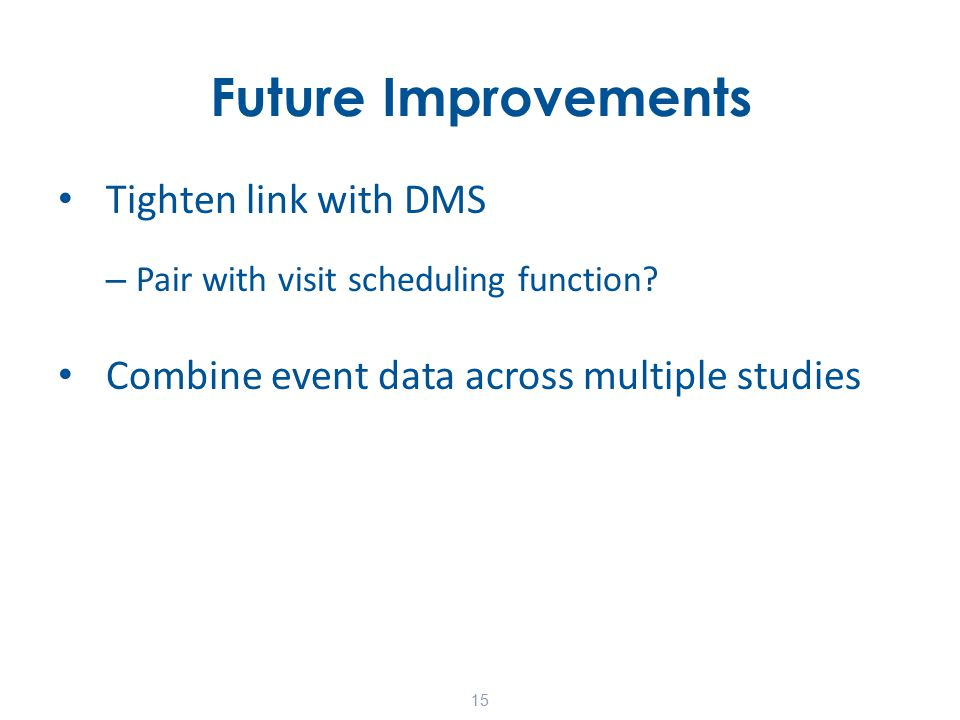 Future Improvements Tighten link with DMS – Pair with visit scheduling function.