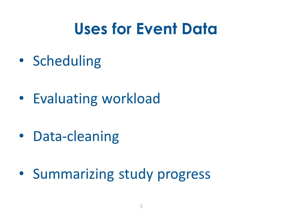 Current Tools Web-based data management system (DMS) – Schedule/record events – Run standardized reports 14
