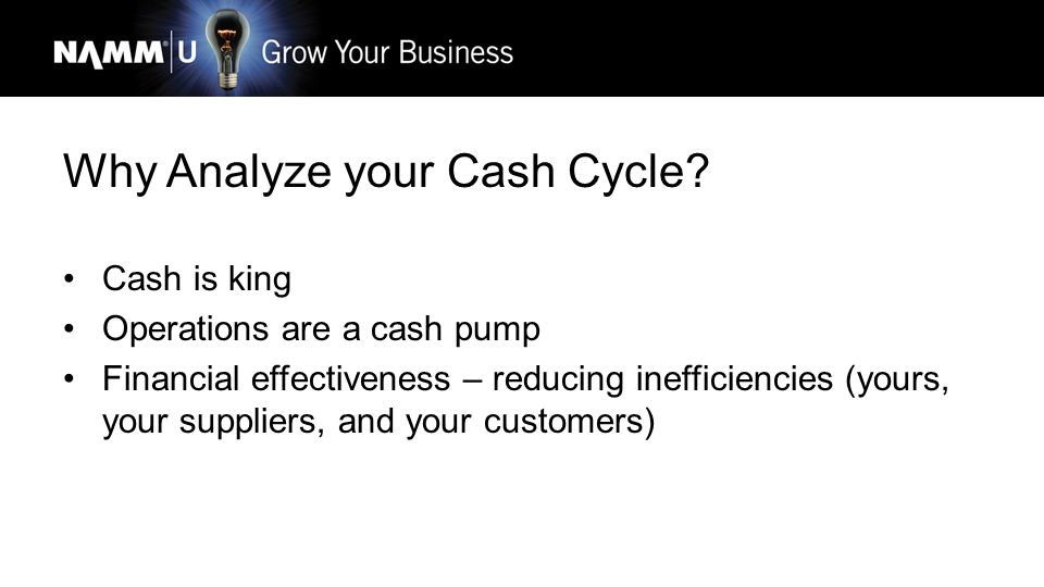 Cash Cycle Defined Length of time needed to turn economic inputs/resources into cash flows Economic inputs: Accounts Receivable, Inventory, and Accoun