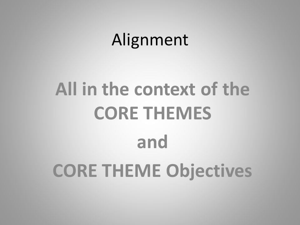 Alignment  Assessment Learning Outcomes Data gathering around goals and outcomes = ASSESSMENT of Program effectiveness