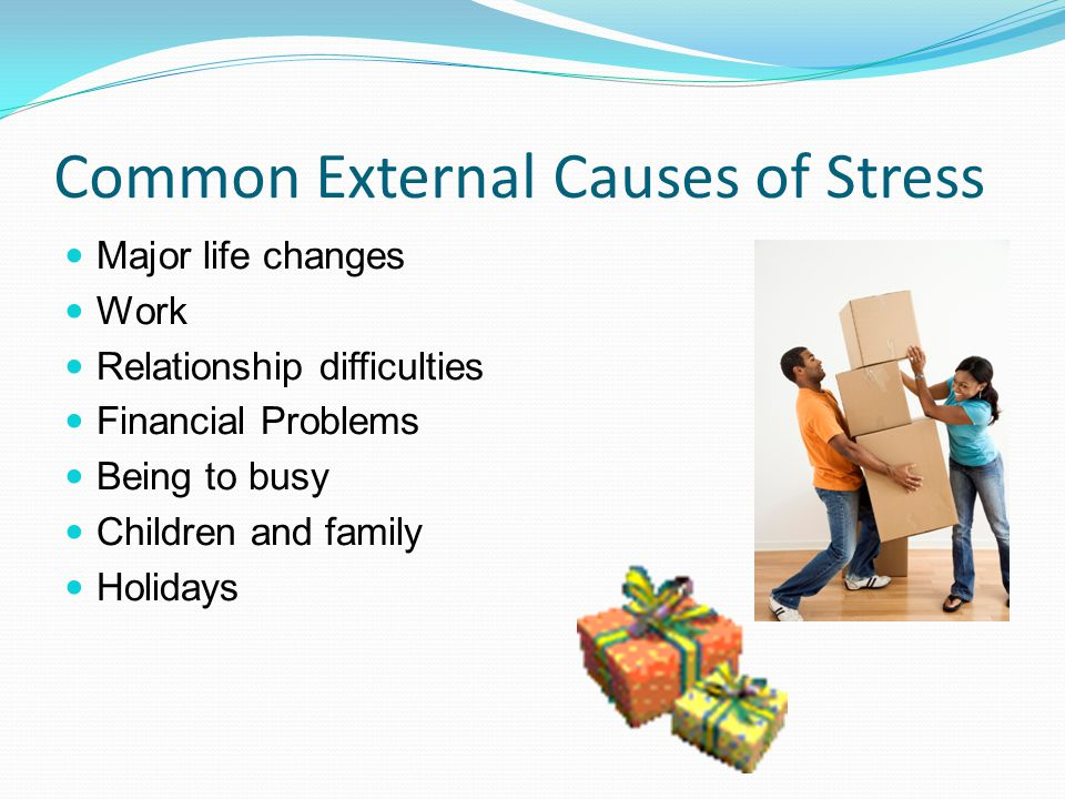 Common External Causes of Stress Major life changes Work Relationship difficulties Financial Problems Being to busy Children and family Holidays