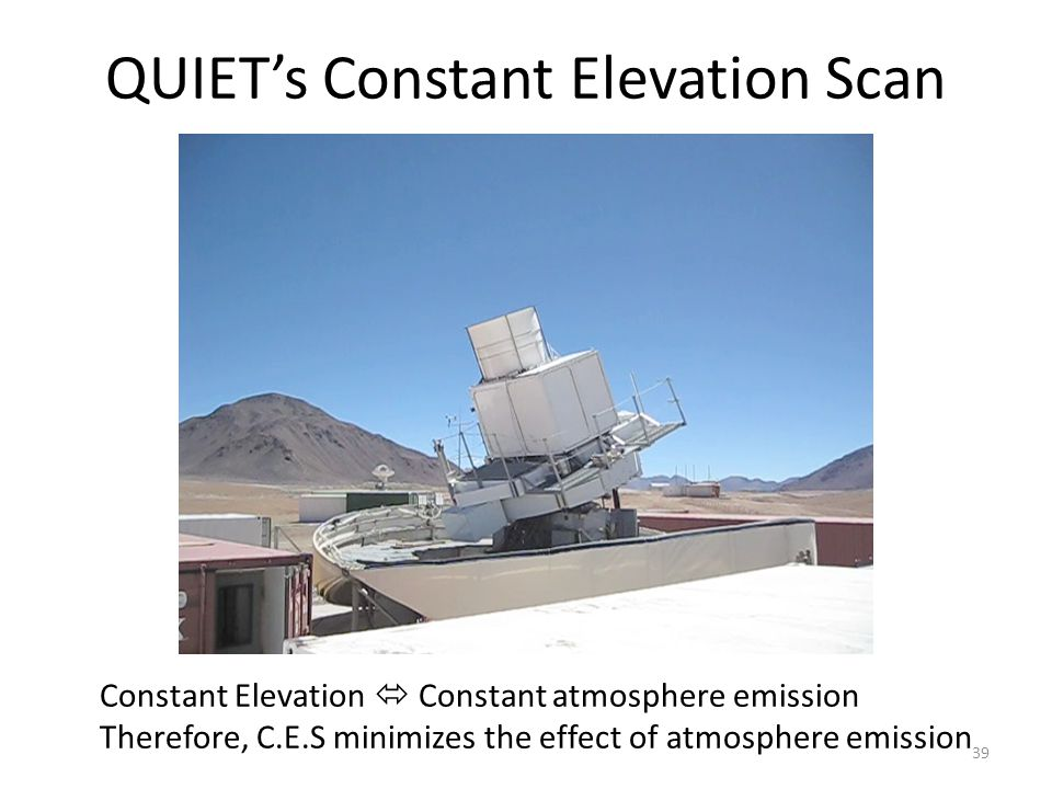 QUIET's Constant Elevation Scan Constant Elevation  Constant atmosphere emission Therefore, C.E.S minimizes the effect of atmosphere emission 39
