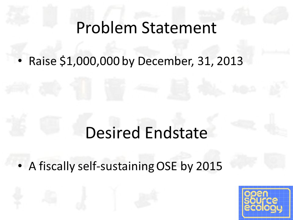 Problem Statement Raise $1,000,000 by December, 31, 2013 Desired Endstate A fiscally self-sustaining OSE by 2015