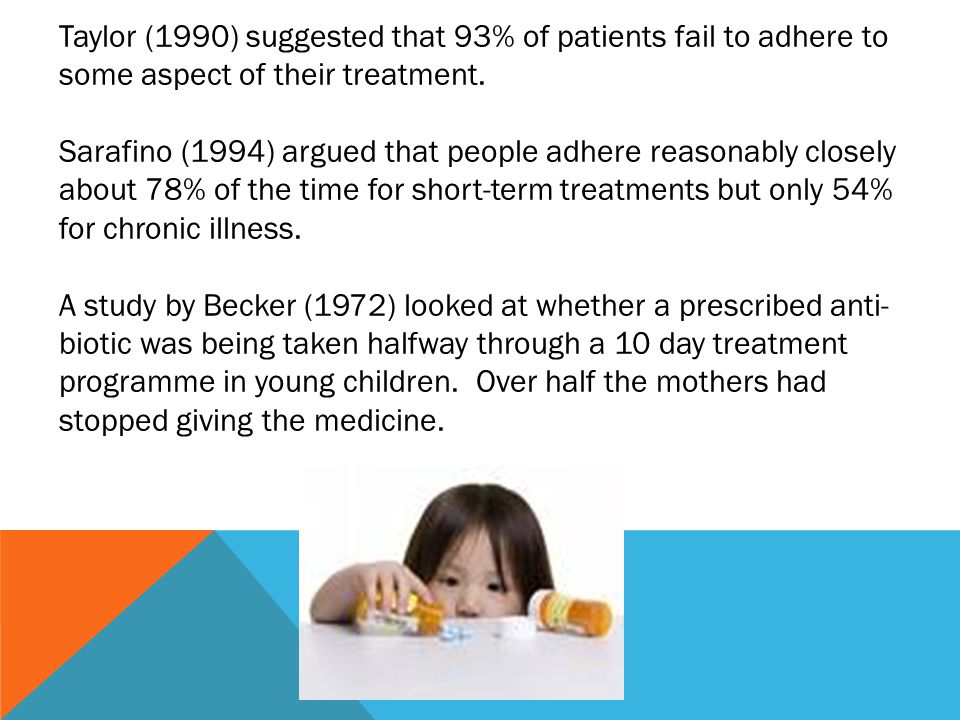 Taylor (1990) suggested that 93% of patients fail to adhere to some aspect of their treatment.